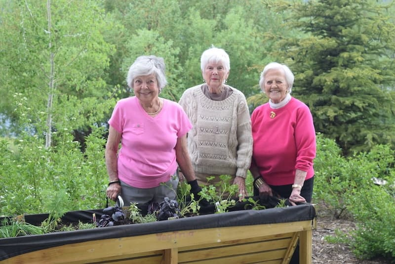 group of ladies gardening