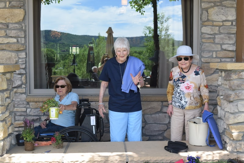 group of seniors gardening