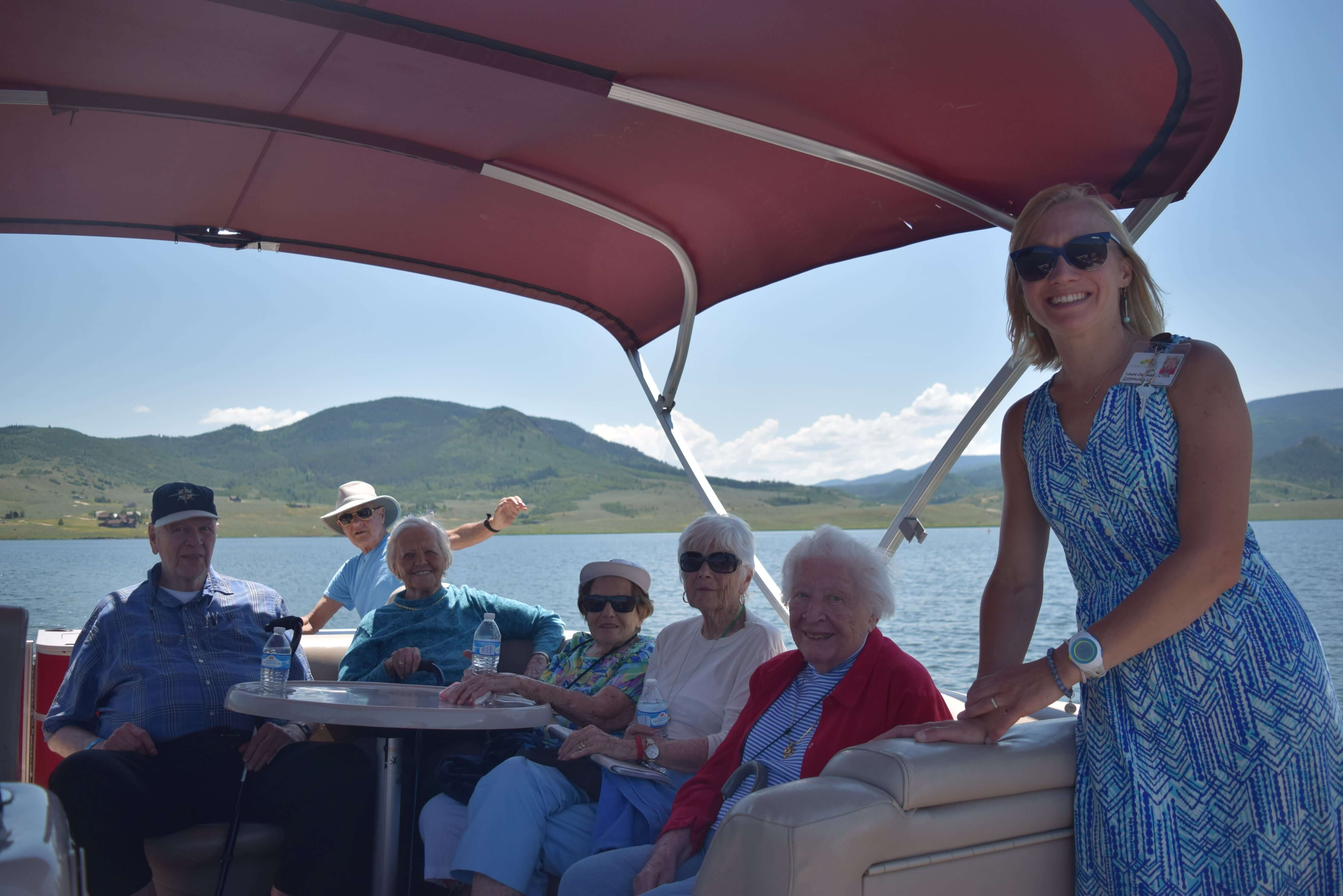 seniors having fun on a boat